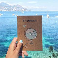 Weltenbummler Grüße von der ganzen Welt. sea, blue, sun, craft paper, holiday @themandarinegirl