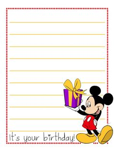 """Happy Birthday - Mickey - Project Life Disney Journal Card - Scrapbooking ~~~~~~~~~ Size: 3x4"""" @ 300 dpi. This card is **Personal use only - NOT for sale/resale** Logos/clipart belong to Disney.  Font is Sweetie Pie http://www.dafont.com/sweetie-pie.font"""
