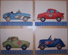 vintage race cars art boys children nursery kids prints 8x10 each. $19.99, via Etsy.