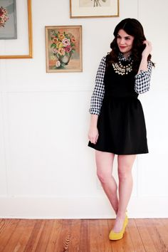 {black and white} dress with button up underneath and yellow shoes