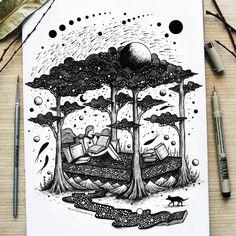 Amazing Pen and Ink Cross Hatching Masters Edition Ideas. Incredible Pen and Ink Cross Hatching Masters Edition Ideas. Dream Illustration, Illustration Art Drawing, Ink Illustrations, Blackwork, Dream Drawing, Cross Hatching, Nature Drawing, Dream Art, Dream Fantasy