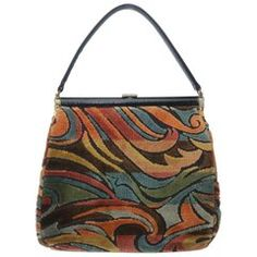 View this item and discover similar for sale at - This Julius Resnick design is a hip combination of a traditional top handle silhouette and a mod cut velvet fabric similar to the stylish designs Mochila Hippie, Minis, Cute Bags, Vintage Bags, Fashion Killa, Leather Handle, Fashion Bags, Fashion Handbags, Pretty Outfits