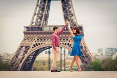 Engagement photos in Paris at Eiffel Tower couple from Australia