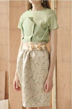 Classic 60s Collection Spring mint green paper-like shirt with floral dress/skirt and bow belt on Etsy, $79.00
