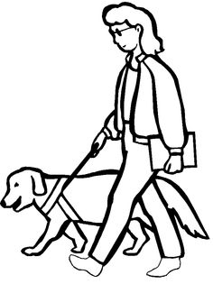 A Blind Woman Walking With Dog Coloring Pages - Disabilities day Coloring Pages : KidsDrawing – Free Coloring Pages Online