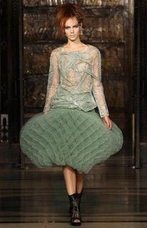 Green tulle origami skirt