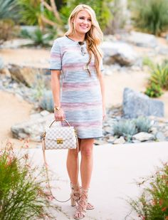 topshop knit dress, louis vuitton croisette, gucci aviators, striped dress, ivanka  trump