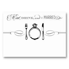 Escort Place Card   Eat, Drink & Be Married Business Card Template