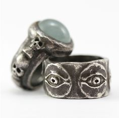Brevard Signature Skull Ring with Aquamarine in Oxidized Sterling Silver and Horus Wide Band in Oxidized Sterling Silver. . . . Please contact the studio for more details . . . . #leebrevard