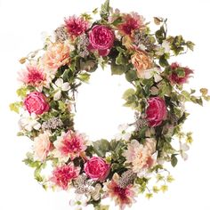 "Beautiful pink cabbage rose wreath with large pink/rose roses, peonies, dahlias and mixed floral and greenery and other floral. Perfect for front door or mantel. Features - Available in 26"" and 30"" di"