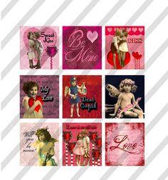 Valentine Scrabble Collage Sheet Art 0.75 X by lisasalteredart