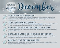 December home maintenance. This site has monthly tasks for interior and exterior home maintenance. December home maintenance. This site has monthly tasks for interior and exterior home maintenance. Patio Interior, Interior Exterior, Home Maintenance Schedule, Garden Maintenance, Home Management, Property Management, Cleaning Checklist, Cleaning Schedules, Home Inspection