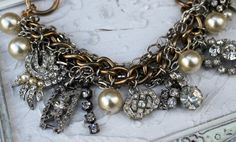 Vintage Rhinestone Charm Bracelet~