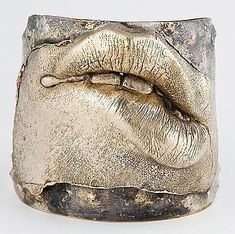 LipService cuff bracelet by metal-smith, jewelry designer and fine artist Simone De Bernard Mas