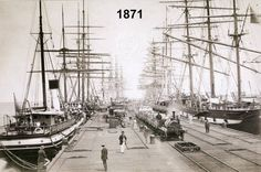 Negative - Sailing Ships Moored at Sandridge Railway Pier, Port Melbourne, Victoria, circa 1880 (C. The locomotive was probably a pier-shunting well tank type built by Robert Stephenson & Sons, England. Melbourne Victoria, Victoria Australia, Melbourne Suburbs, Old Sailing Ships, Melbourne Australia, Brisbane, Model Ships, Tall Ships, Vintage Pictures