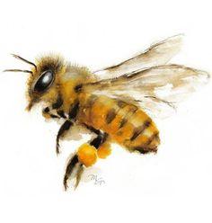 Yellow blurred flying bee tattoo design