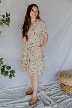 Button Down Dress, New Outfits, Fit And Flare, Button Downs, Polka Dots, Short Sleeve Dresses, Buttons, Boutique, Brown