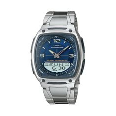Casio Men's Illuminator World Time Analog & Digital Databank Chronograph Watch - AW81D-2AV, Grey