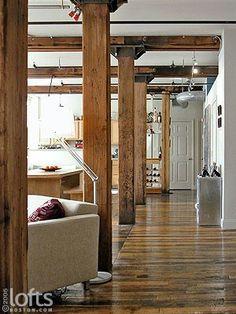 57 Super Ideas Home Rustic Interior Beams Rustic Contemporary, Contemporary Interior Design, Modern Rustic Interiors, Interior Design Living Room, Modern Design, Rustic Modern, Interior Columns, Column Design, Construction