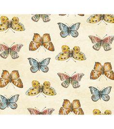 fd400335851 Anti-Pill Fleece Fabric-Butterflies On Cream No Sew Fleece Blanket