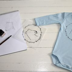 Unni Strand -STRAND tekstildesign Process, onesie With bear drawing. Hand printed in Norway. Baby fashion.