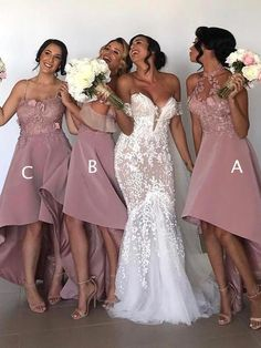 Dusty Pink Lace Mismatched High Low Fashion Bridesmaid on Storenvy Burgundy Bridesmaid Dresses Long, Bridesmaid Dresses Online, Bridesmaids, Homecoming Dresses, Dresser, Lace Evening Dresses, Dress Silhouette, Pink Lace, Blush Pink
