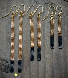 Long 18K Gold Plated and Black Bead Bar by AYAJewelryStudio, $27.00
