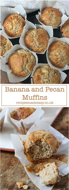Quick and easy to make, these banana and pecan muffins are not too sweet and make a delicious breakfast treat. via @jacdotbee