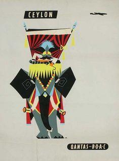 Qantas Vintage Poster - Ceylon