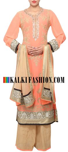 Buy Online from the link below. We ship worldwide (Free Shipping over US$100) http://www.kalkifashion.com/peach-a-line-suit-embellished-in-kundan-and-zari-embroidery-only-on-kalki.html