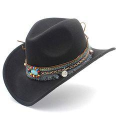 2369ed12 Elee Women Men Wool Blend Western Cowboy Hat Cowgirl Caps Bohemia Tassel  Ribbon – Caps & Hats for Everyone