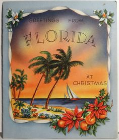 40s Greetings From Florida Vintage Christmas Card