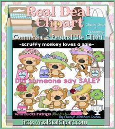 Scruffy Monkey Loves a Sale Clip Art   Our adorable Scruffy Monkey Loves a Sale Clipart set and graphics are perfect for crafting all your projects. Graphics come in PNG format.