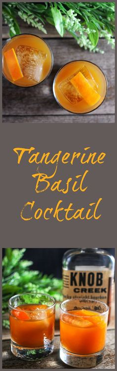 Sweet and tangy tangerine with a sweet basil infused simple syrup adds a fresh citrus and herb burst to this rich bourbon sipping cocktail. Party Food And Drinks, Fun Drinks, Alcoholic Drinks, Beverages, Easy Drink Recipes, Best Cocktail Recipes, Basil Cocktail, Cocktail Drinks, Bourbon Cocktails