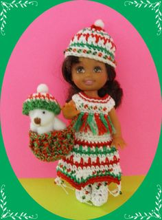 """This auction includes a hand crocheted with #10 #30 crochet cotton dress, hat, boots, and basket with jointed bear crochet hat to fit the 4 ½"""" Kelly doll and her same-sized friends created in a smoke-free home."""