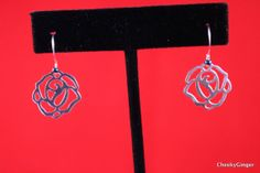 Silver Plated Rose Charm Dangle Earrings with dark by CheekyGinger, $5.00
