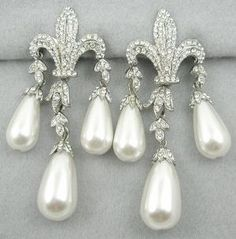 Todd Anthony Rhinestone and faux pearl drop Fleur de Lis Earrings $59.00