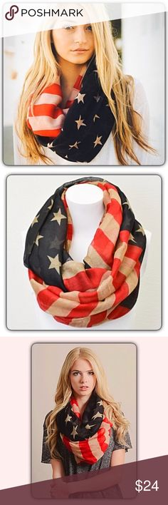 "American Flag Infinity Scarf Vintage Look Always on trend patriotic vintage American Flag infinity scarf. Lightweight 100% viscose 35""x35""  Perfect for Memorial Day & 4th of July, but looks great any time of the year! Vintage shades of off white, red & blue. Accessories Scarves & Wraps"