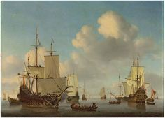 Lot 9. Willem van de Velde II (Leiden 1633-1707 London)Dutch men-o'-war and other shipping in a calm signed 'willem:van velde f' (lower centre, on the rowing boat) oil on canvas 34 x 47 in. (86.3 x 119.3 cm.)