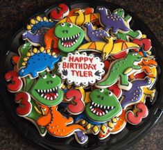 We did a dinosaur theme for my oldest son's 3rd birthday too.  Wish I could have made cookies like these!