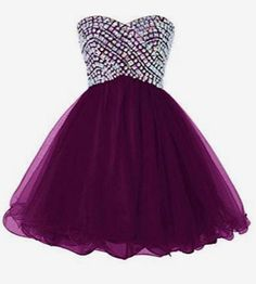 Cocktail Dresses,Beading dress Strapless Rhinestone  Bodice Purple Tulle Homecoming Dresses,Off the shoulder dress