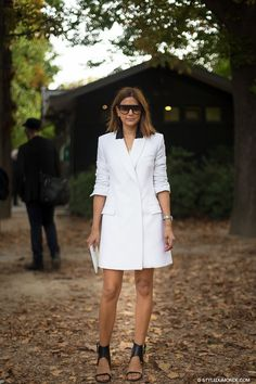 @Who What Wear - White Tuxedo Dress, Two Ways: Street Style Inspiration From Christine Centenera And Laetitia Casta