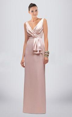 Romantic Ruched V-neck Floor-length Column Bridesmaid Dress