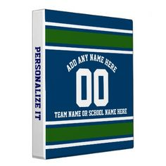 Sporty Blue|Green Striped Personalized Binder - professional gifts custom personal diy