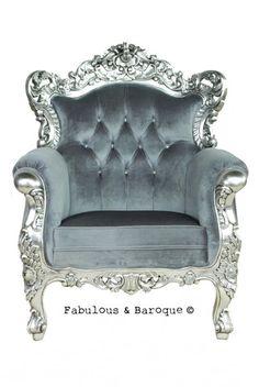 * Lofty dreams: Belle de Fleur Chair - Silver & Grey - Fabulous & Baroque. Exquisite royalty status!