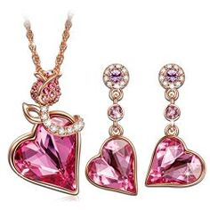 """Qianse """"ROSE LOVER"""" Heart Rose Gold Necklace Earring Jewelry Sets made with SWAROVSKI Crystal*Love Gifts"""