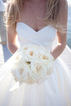 White bouquet. Love the dress, too.