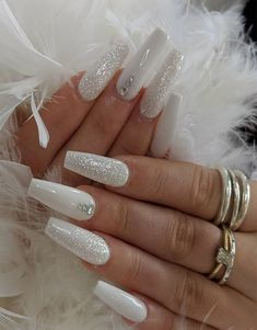 43 White nail art designs - The Perfect manicure minimalist & Great with any outfit , simple white nail designs , white nail designs with diamonds, white nail designs with glitter Nail Art Designs, Diamond Nail Designs, Cute Acrylic Nail Designs, White Nail Designs, Diamond Nails, Best Acrylic Nails, Nails With Diamonds, Nails Design, Gorgeous Nails