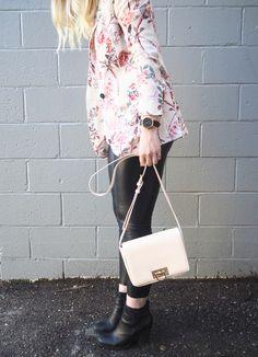 Floral Blazer - Strung in Gold [Zara Blazer, American Eagle Top, Aritzia Leather Leggings, Aldo Boots, Forever 21 Purse}