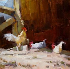 """Daily Paintworks - """"GHOST CHICKENS"""" - Original Fine Art for Sale - © James Coulter"""